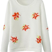 Demure Embroidered Floral Pattern Sweatshirt - OASAP.com