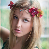 TURQUOISE, CRIMSON, & CHAIN Floral Crown