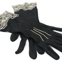 Victorian Black Netted And White Belgium Lace Gloves