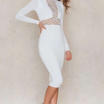 Nookie Rebel Heart Long Sleeve Midi Bodycon Dress - White