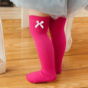 1-8T Children Knee High Long Cotton Socks Spring Autumn Baby Girls Bow High Socks Leg Warmers 6 Colors Kids Toddlers Clothing