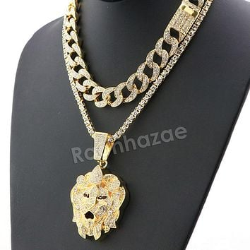 Hip Hop Iced Out Quavo LION Miami Cuban Choker Chain Tennis Necklace L43