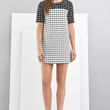 FoxieDox Grid-Patterned Shift Dress