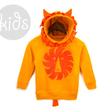 Geo Lion - Hand Stenciled Cotton Graphic Fleece Pocket Hoodie with Ears and Tail in Tangerine Orange - Baby Kids & Youth