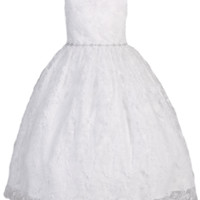 Rhinestone Trimmed Girls Embroidered Tulle Communion Dress 5-14