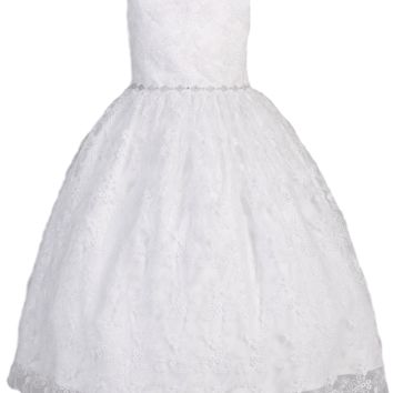 Embroidered Tulle Girls Plus Communion Dress w. Rhinestones 8x-20x