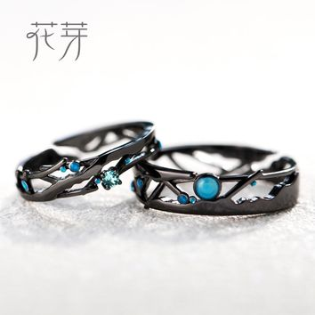 Thaya S925 Silver Cosmic Milky Way Design Black Rings Blue Bright Zircon Beads Rings for Women Lover Vintage Jewelry Gift