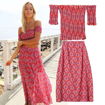 Women's Fashion Bohemia Print Skirt Set [4918988228]