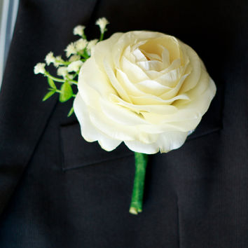 Silk Boutonniere- Spring Ranunculus in Ivory or Deep Red