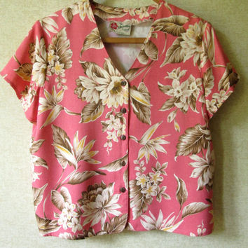 Hawaiian Blouse tropical shirt short cropped top coral pink floral print short sleeves vintage 80s 90s women medium Hilo Hatties