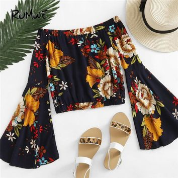 ROMWE Bardot Fluted Sleeve Floral Print Random Blouse 2018 Off Shoulder Vacation Crop Tops Long Sleeve Women Tops And Blouses