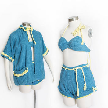 Vintage 1940s Beach Set - 3 Piece Terry Cloth Set Top Shorts & Cover-Up Bikini Blue Yellow - Small