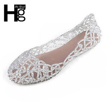 HEE GRAND  Shallow Leisure Women Sandals Summer Crystal Cut Out Flats Flat Heel Shoes Female