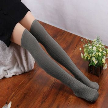 2017 Winter Fashion Women Stretchy Stockings Solid Cotton Knit Over Knee Thigh Spiral Pattern Thigh High Pantyhose for Female