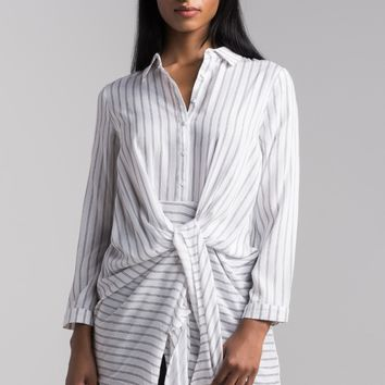 AKIRA Tie Front Button Up Long Sleeve Lightweight Striped Shirt Dress in White Stripe