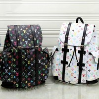 Free shipping-LV men and women full printed logo large capacity casual backpack