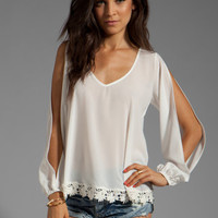 Lovers + Friends Daydream Blouse in White with Lace from REVOLVEclothing.com
