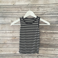 Audry Striped Crop Tank (Black)