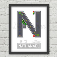 Car Print for Boy Room, Boy Room Decor, Monogram Letter Personalized Kids Name Plaques, Car Print Kid, Road Alphabet Printable Baby Shower