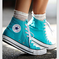 Converse Fashion Reflective Sneakers Hight top Sport Shoes Light Blue