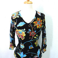 Black Top Floral Beaded Le Mieux Studio Cotton Blouse V-Neck Size Medium