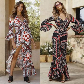 Fashion Women Long Maxi Dress Summer Bohemia Chiffon Vintage Floral Print Party Beach Dresses Flare Sleeve Sundress