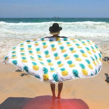 New Fashion Pineapple Indian Mandala Summer Round Tapestry Boho Hippie Beach Throw Towel Rug Yoga Mat Tablecloth Home Decor148cm