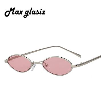 Max Glasiz Hot Sales Oval  Sunglasses Metal Frame Men And Women Small Size Sunglasses Female Vintage Red Lense Sun Glasses UV400
