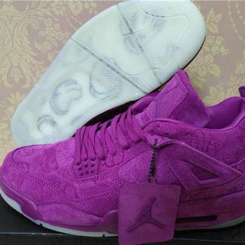 KAWS x Air Jordan 4 Purple Leather Basketball Shoes US4Y-13