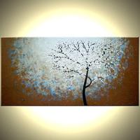 """Original Abstract Tree Painting, TEXTURED Cherry Blossom Flowers, Abstract Metallic WHITE Impasto FLORAL, 48x24"""" Lafferty - 22% Off Sale"""