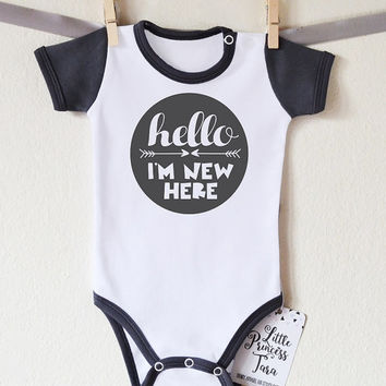 Hello, I'm New Here Baby Boy Clothes. Baby Boy Shirt. New Baby Announcement. Baby Shower Gift. Cute Baby Clothes. Dark Gray Sleeves Romper.