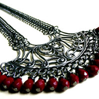 Red & Silver Statement Necklace:  Art Nouveau Filigree Heart, Vintage Large Focal, Scarlet Crystal