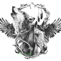 Waterproof Temporary Tattoo sticker fox horse wolf tattoo Water Transfer fake tattoo flash tattoo for men women
