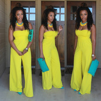 Yellow Strapless Wide Leg Jumpsuits