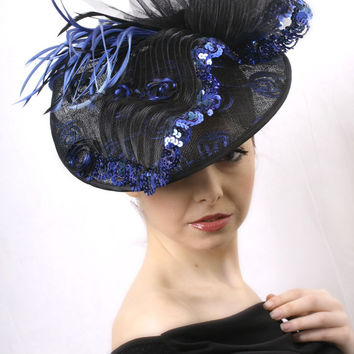 Ascot FREE Shipping Royal Blue and black Royal Ascot Fascinator, Kentucky derby Hat, Wedding head piece, sinamey, feathers and lace hat