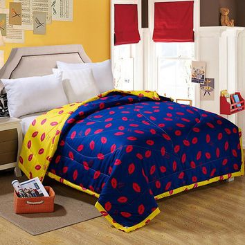 Bedspread Patchwork quilt red lips comforter Duvet Quilt Summer air-condition blanket Quilts edredones doona home textile print