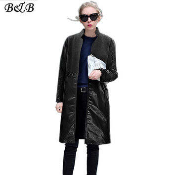 2016 Autumn & Winter Coat Female Leather Large Size Splicing Wool Trench Coat Women Black L XL XXL 3XL 4XL 5XL ZB002