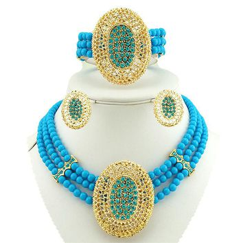 african bead jewelry set  gold jewelry sets women necklace wholesale costume jewelry set