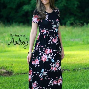 Black Floral Print Maxi Dress - Boutique At Audrey's