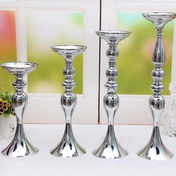 Candelabra Romantic Flower Standing Centerpiece Candlestick Silver Plated Candle Holder Road Lead Wedding Decoration