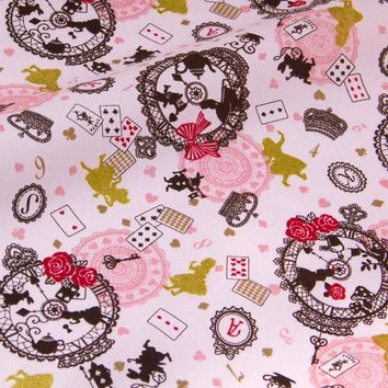 50cm*110cm New Arrival Japanese Kokka Bronzed Oxford Cotton Fabric Patchwork Quilting Fabric Retro Alice in Wonderland C