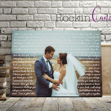 Copy of First Dance Lyrics/ Wedding Canvas Photo Decor Words Vows lyrics/ Anniversary or Wedding Art