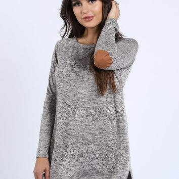 Shannon Heathered Elbow Patch Tunic