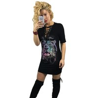 2017 Summer New Fashion T-Shirt for Woman  Print Tied Rope Sexy T Shirt Long V-Neck Woman Short Sleeve Regular T-Shirt Hot Sale