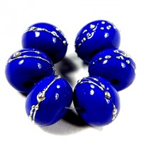 Opaque Medium Cobalt Blue Handmade Lampwork Glass Beads 242 Shiny (Choices of Etched, .999 Fine Silver, Shapes, Sizes, Large Hole Beads Extra)