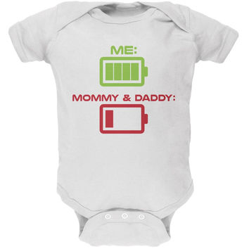 Funny Child Battery White Soft Baby One Piece