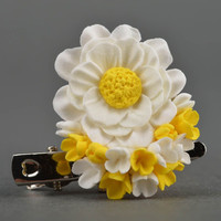 Beautiful white and yellow handmade design polymer clay flower brooch hair clip