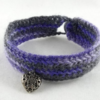 Purple and Grey Crochet Bracelet with Heart by theotherstacey