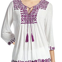 Lucky Brand Embroidered Peasant Top White