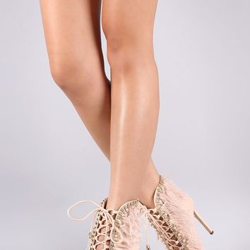 Liliana Feathered Peep Toe Pearl Lace-Up Stiletto Booties